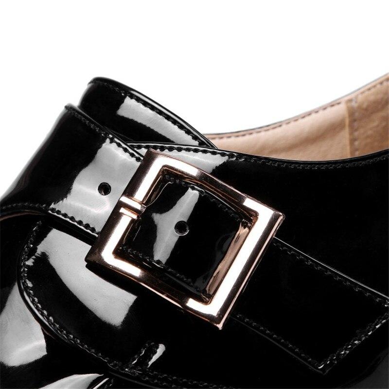 Casual Automne Coin Verni Black En Femme Chaussures Femmes Cuir Pompes Confort Talons white wine forme Plate Printemps Hauts Boucle q0Ow6O