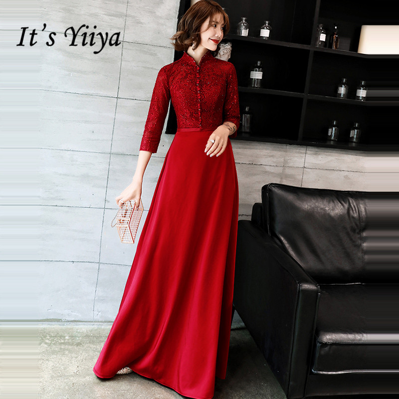 It's YiiYa   Evening     Dress   2019 Wine Red Long Sleeve Thickening   Evening   Gowns Floor-length Party   Dresses   LX1328 robe de soiree