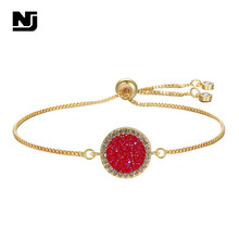 NJ Vintage Red Shiny Stone Charm Bracelets Geometric Round Shape Silver Gold Chain Link Women Adjustable Jewel