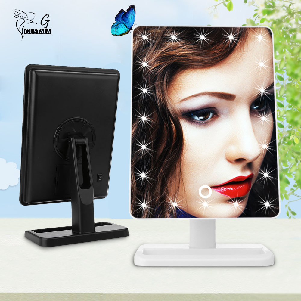 Buy gustala vanity tabletop lamp 20 leds lighted led touch screen mirror makeup - Mirror screen ...