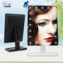 Gustala Vanity Tabletop Lamp 20 LEDs Lighted LED Touch Screen Mirror  Makeup Portable  Mirror Luminous 180 Rotating Mirror