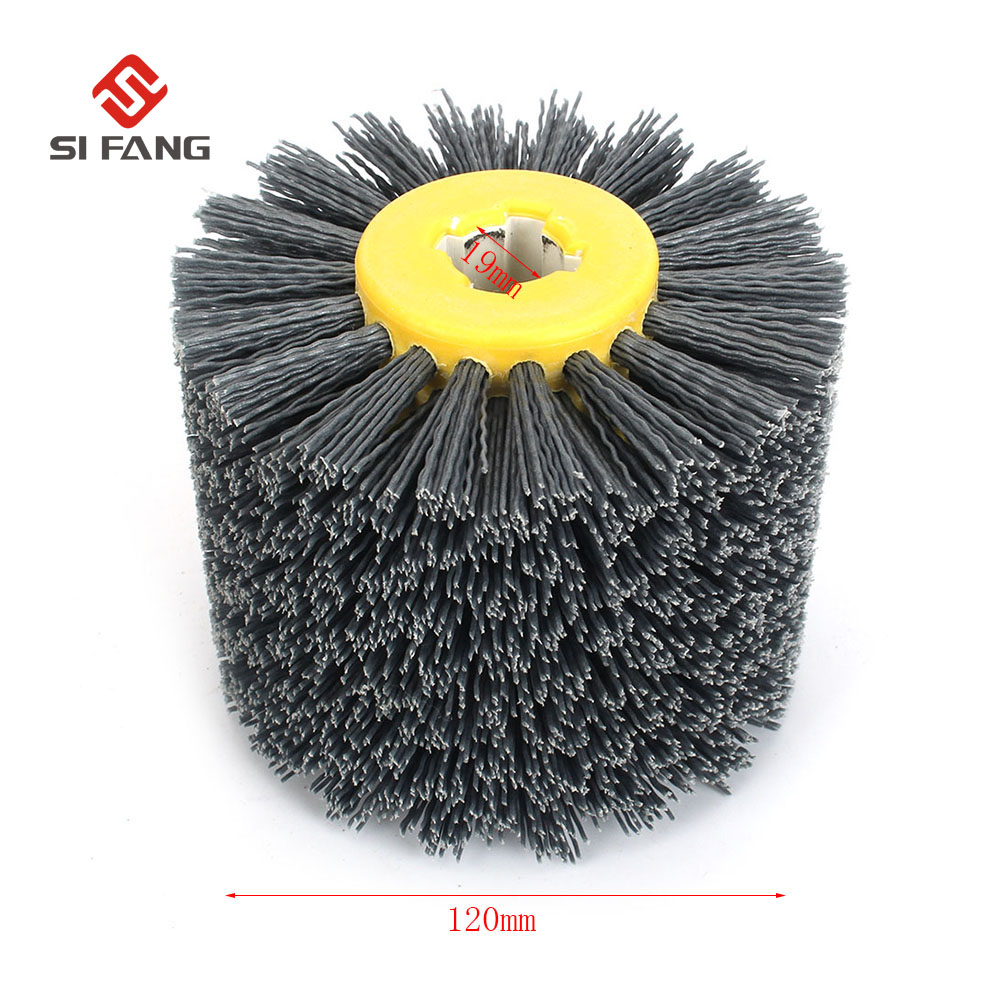 Deburring Abrasive Wire Drawing Round Brush Head Polishing Grinding Buffer Wheel Nylon Burnishing Wheel Brush  For Wood Working