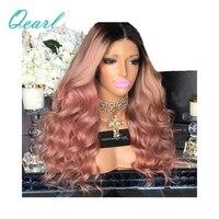 Самые толстые плотность 180%/200 бесклеевого парики Ombre розовый волнистые натуральные волосы парики предварительно сорвал с волосы младенца