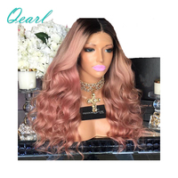 Best Thick Density 180%/200 Glueless Full Lace Wigs Ombre Pink Wavy Human Hair Wigs Pre Plucked With Baby Hair Qearl Hair