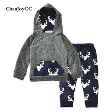 Baby Kids Set 2017 Autumn Fashion Boys Deer Long-sleeved Sweater Hoodies + Pant Two-piece CHhildren Clothing