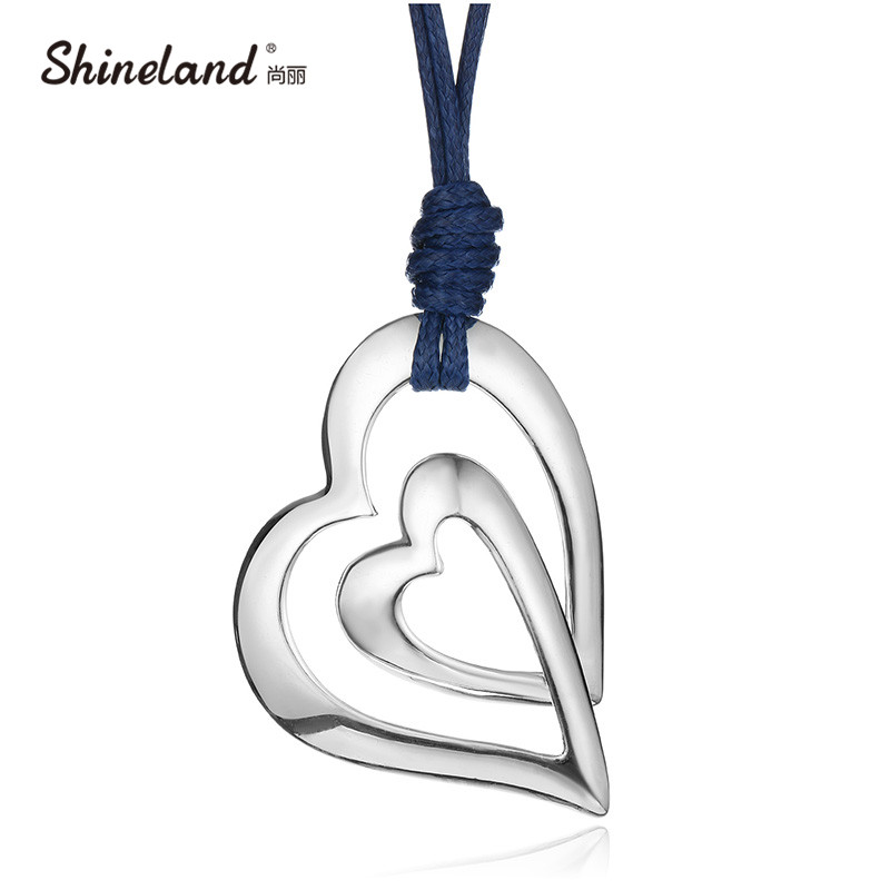 Shineland Trendy 3 Style Love Heart PU Leather Chain Vintages