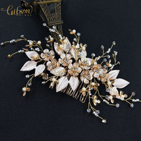 Ceremony Gold Bridal Hair Comb Flower and Leaf Hair Pin Rhinestone Headpiece For Wedding Dress Accessories