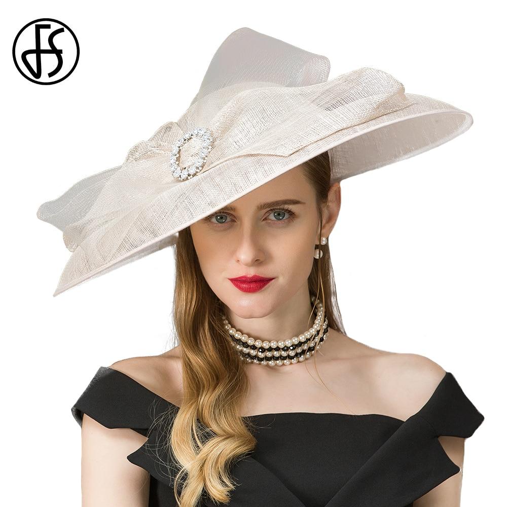 FS Women Vintage Linen Church Hat Kentucky Derby Hats Wedding Party Hats And Fascinators White Elegant Rhinestone Flower цена