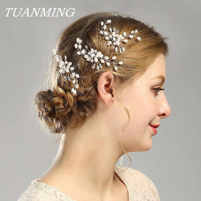 Cristal de mariage perle épingles à cheveux pour mariée bâton de cheveux femmes strass perle épingles à cheveux bijoux de cheveux de mariée ornements de cheveux de mariage