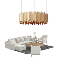 Creative Post modern Round LED Chandelier Light 80cm luxurious gold color Alloy Tube Contemporary Suspension Luminaire G9 bulb
