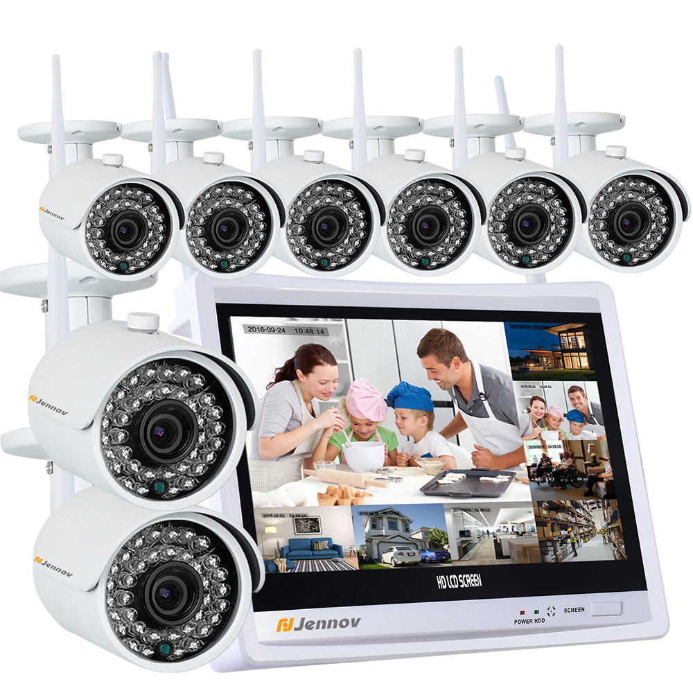 цены 8CH 1080P Wireless Security CCTV IP Camera System NVR 12 inch LCD Monitor HD 8PCS Camara P2P wifi Video Surveillance Kits Set