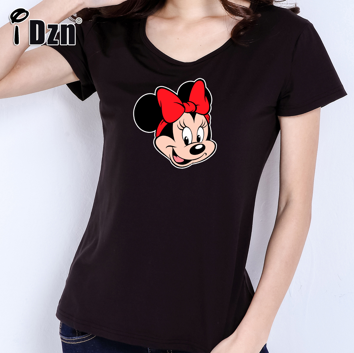 iDzn Women T shirt Cotton Casual Cute Cartoon Star Donald Daisy Duck Mouse Head Goofy Pluto Pet Dog Girls short sleeve Tees Tops