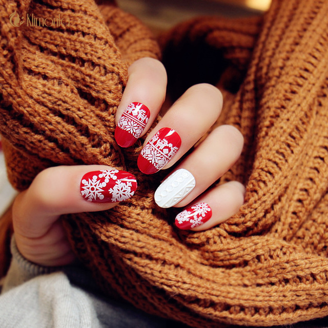 24pcs Full Red Snowflake Fake Nails With 3d Designs Full Cover Unhas