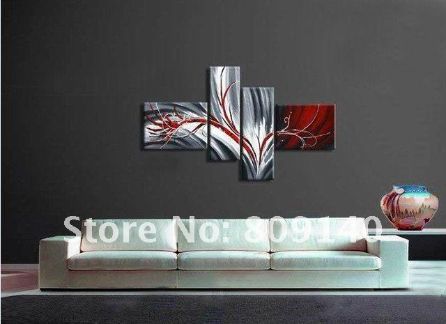 caf40a54298 Stretched Contemporary abstract oil painting canvas Grey Red artwork  handmade home office hotel wall art decor
