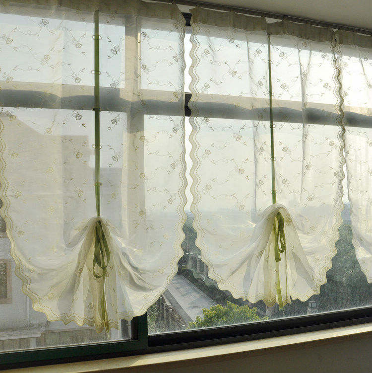 Kitchen Window Drawing: Riband Draw String Embroidered Retractable Curtains, Lace Curtain Panels,-in Curtains From Home