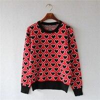 Winter Luxury Runway Design Sweater For Women 2018 Long Sleeve Love Pattern Ladys Sweater Knit Pullover Korean Jumper Clothing