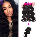 8A Brazilian Body Wave Hair With Closure 4 Bundles With Lace Closure Cheap Human Hair With Closure Body Wave Hair Weave Natural