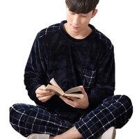 Man Pijama Winter Mens Pajama Sets O Neck Long Sleeve Nightwear For Men Sleepwear Thick Warm