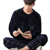 Man Pijama Winter Mens Pajama Sets O Neck Long Sleeve Nightwear For Men Sleepwear Thick Warm