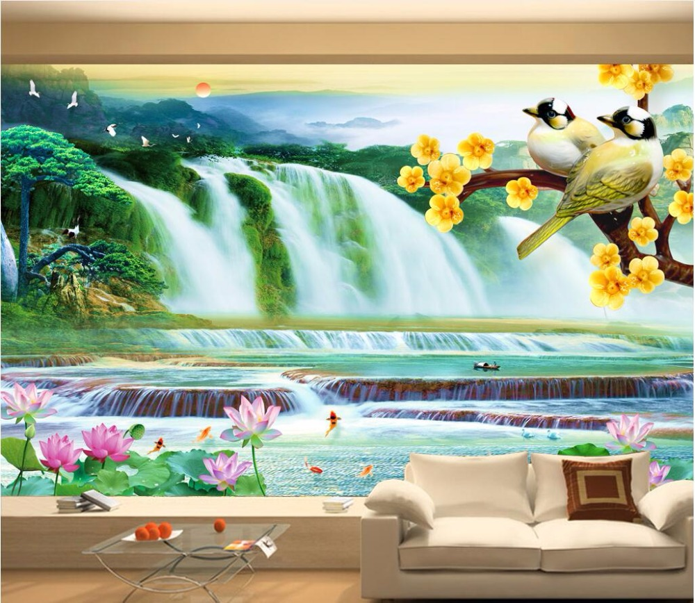 Custom mural 3d photo wallpaper Mountain Waterfall Lake Lotus Bird painting 3d wall murals wallpaper for living room walls 3 d book knowledge power channel creative 3d large mural wallpaper 3d bedroom living room tv backdrop painting wallpaper