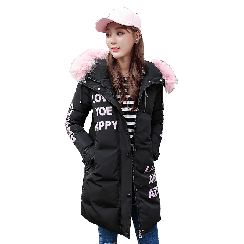 ФОТО New Winter Print Letter Jacket Women Padded Cotton  Warm Coat Female Long Hooded Parkas Casacos de inverno feminino YC637