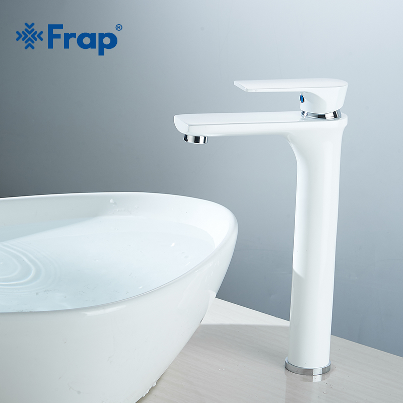 Frap New Single Handle Basin Faucet White Hot and Cold Water Basin Sink Tap Water Kitchen Faucet Bathroom Accessories Y10111