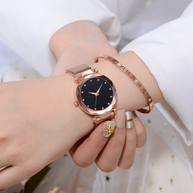 Luxury Women Watches Rose Gold Mesh Ladies Clock Magnet Buckle Starry Diamond Geometric Surface Casual Dress Quartz Wristwatch 3