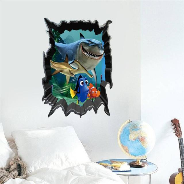 Find Nemo Shark Wall Stickers Sea Life Kids Room Decoration Print Mural Art  3d Animal Home