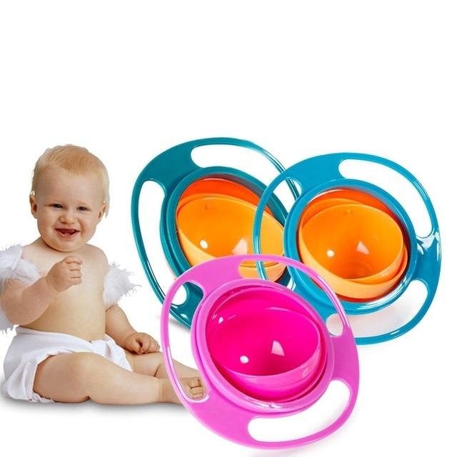 Pratos de Alimentação Do Bebê de varejo Bonito Do Bebê Brinquedo Giroscópio Universal 360 Girar Spill-Proof da Bacia Pratos Utensílios de Mesa Do Bebê das Crianças