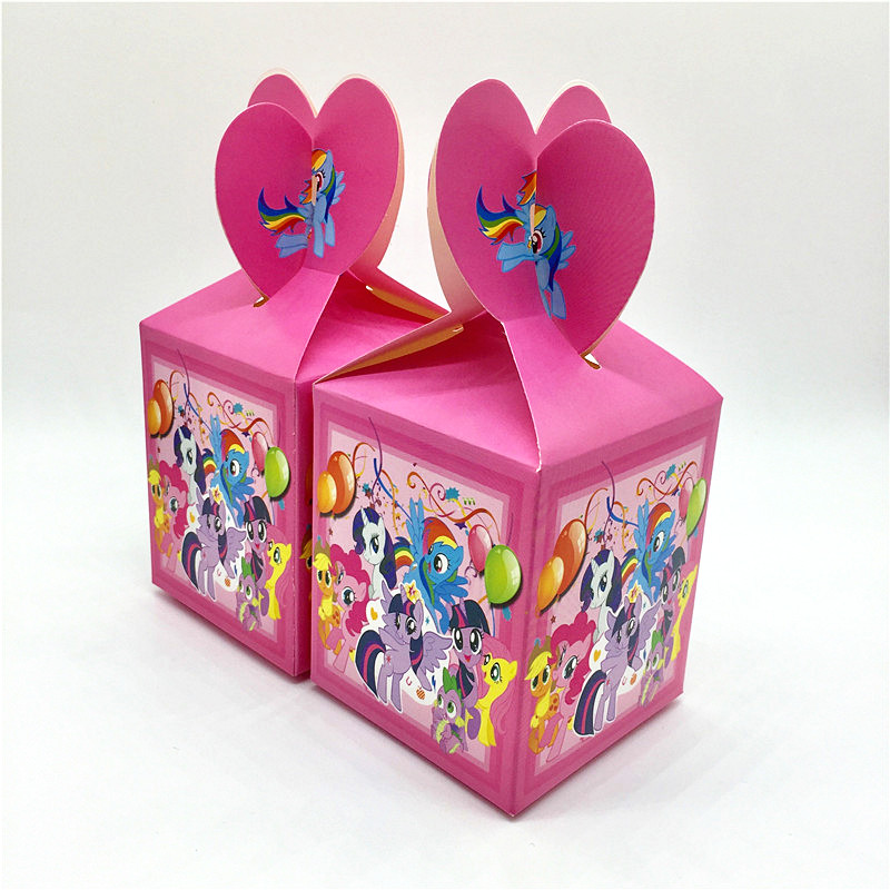 My Little Pony Theme 12pcs/lot Printed Candy Box Party Supplies Gift Trophy Bag Carton Birthday Party 10 * 8.5 * 18cm