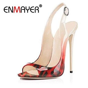 ENMAYER Woman Super High Heels Sandals Summer Peep Toe Thin heels Denim Buckle strap Leopard Thin heels Lady shoes Causal CR6