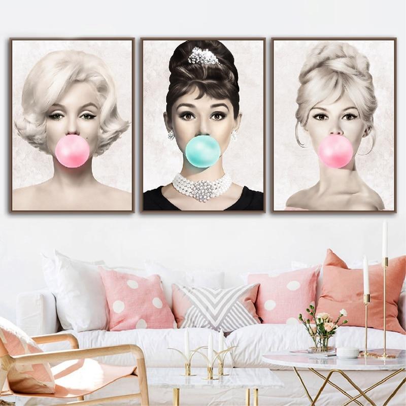 HTB1zey bjnuK1RkSmFPq6AuzFXam Audrey Hepburn Bubble Gum Wall Art Canvas Fashion Posters Brigitte Bardot & Marilyn Monroe Prints Painting Pictures Home Decor