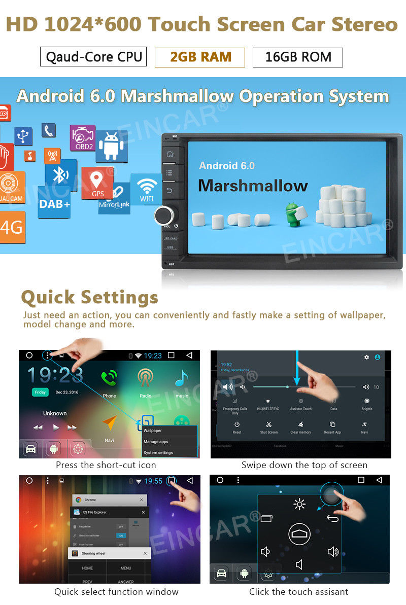 7 HD Car Stereo RAM:2GB Double 2Din Android 6.0 4Core GPS OBD2 NAV WIFI NO DVD