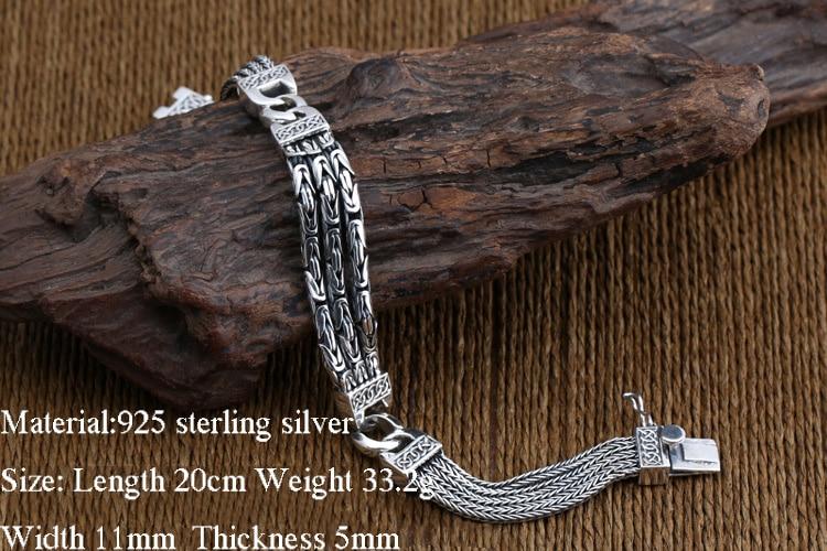 925 Браслеты стерлингового серебра для Для мужчин Для женщин Винтаж S925 твердый тайский серебряный цепи браслеты, бижутерия, подарок на день р... - 2
