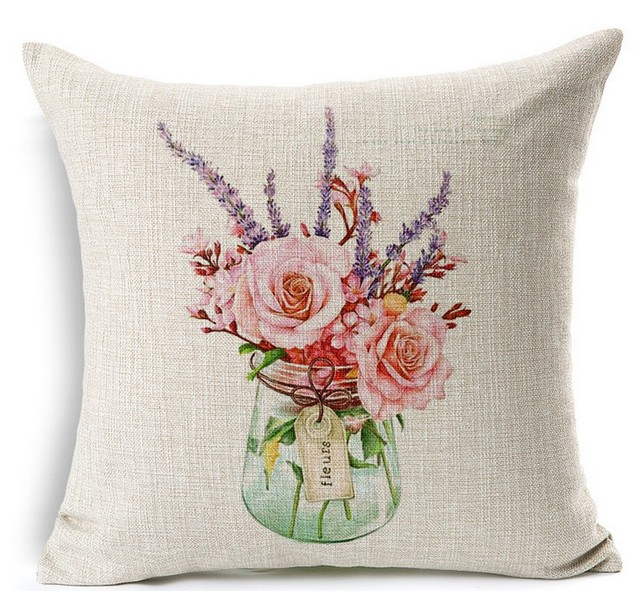 Retro Vintage Art Painting Rose Vase Hand Painted Pillows Emoji Euro Home  Decor Pillow Environment
