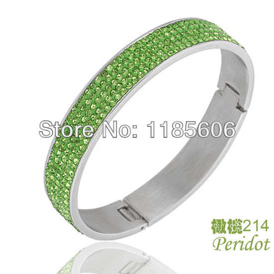 Fashion Stainless Steel bangles & bracelets women AAA Crystal charm Jewelry green rhinestones - CRYSTAL BEADS store