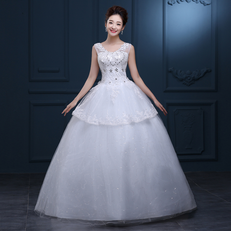 Buy cheap korean simple lace wedding for Cheap simple plus size wedding dresses
