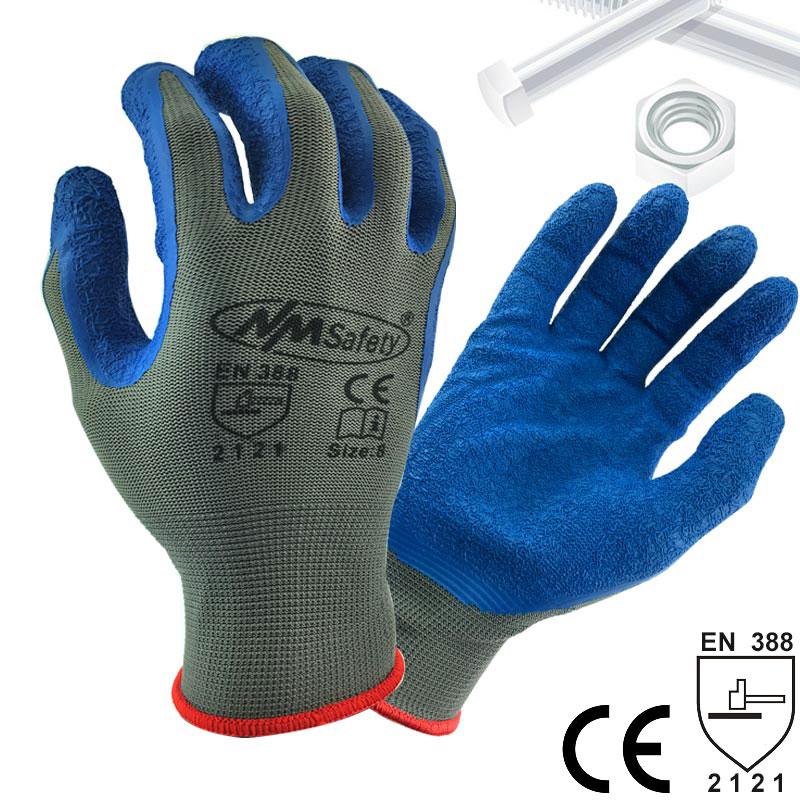 NMSafety Blue Rubber Latex Material Dipping Polyester Palm Safety Protective Work Gloves nmsafety fashion high quality work safety gloves protective gloves rubber good grip work gloves