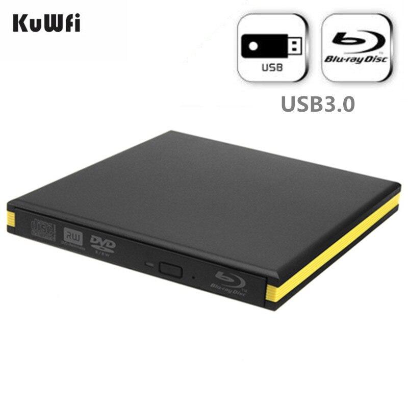 KuWfi Lecteur Blu-Ray Externe USB 3.0 Graveur Bluray BD-RE CD/DVD RW Écrivain Jouer 3D disque Blu-Ray Pour PC/ ordinateur portable