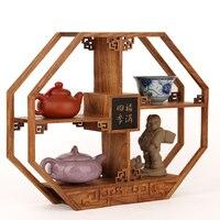 Rosewood medium shelf ornaments fukuma four curio Vintage Chinese wood frame Teapot Tea frame ornaments