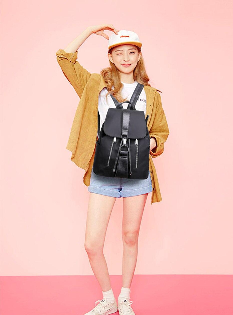 HTB1zezFJ4SYBuNjSsphq6zGvVXau Women Backpack School Bags For Teenager Girls Nylon Zipper Lock Design Black Femme Mochila Female Backpack Fashion Sac A Dos