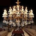 Lustre en cristal de Style européen lustres de salon lampe de bougie en alliage de Zinc de luxe avec éclairage de lustre