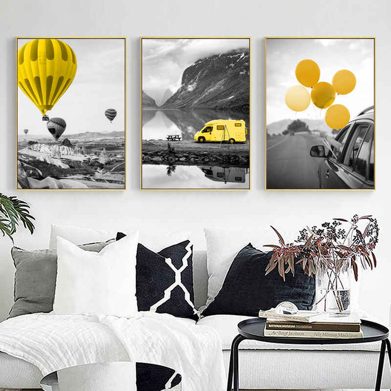 Black and White Landscape Picture Home Decor Nordic Canvas Painting Yellow Balloon Print Living Room Bedroom Wall Art Painting
