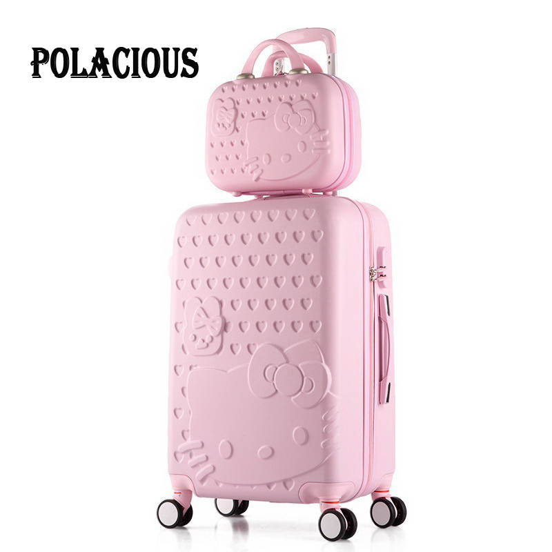 2016 Hot hello kitty ABS+PC Children's and women's favorite trolley suitcase sets/7 Colors universal wheels trolley luggage