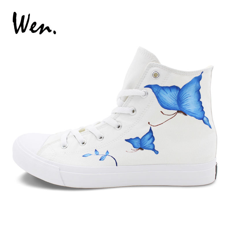 Wen Original Design Butterfly Hand Painted Canvas Shoes Classic Blank White High Tops Graffiti Painting Men Women Sneakers 1 design laser cut white elegant pattern west cowboy style vintage wedding invitations card kit blank paper printing invitation