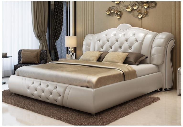 Europa Und Amerika Echtem Leder Bett Rahmen Moderne Weiche Betten Hause Schlafzimmer Möbel Cama Muebles De Dormitorio/camas Quarto Möbel
