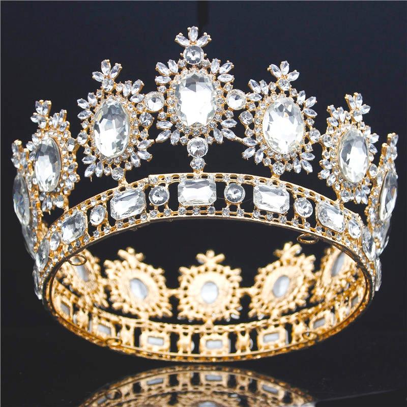 Baroque Big Tiara Crown Rhinestone Crystal Large Diadem Bridal Wedding Hair jewelry Tiaras and Crowns Headdress Hair ornaments