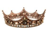 New Design Baroque Bronze Round Crown Noble Queen Headdress Crystal Hair Ornaments Bridal Wedding Dress Hairband