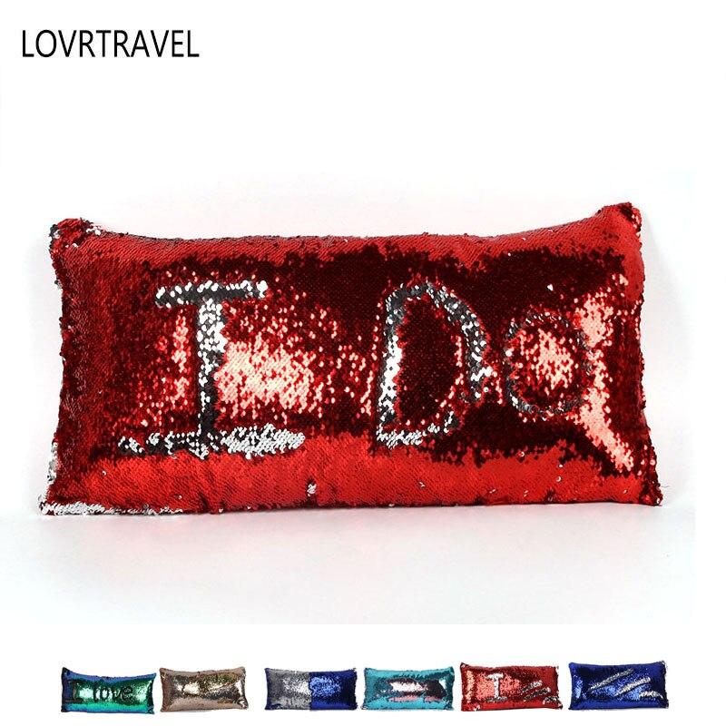 Creative Handmade DIY Magic Sequins Throw Pillowcase Mermaid Cushions Cover for Home Car Sofa Party Decor 30x60 Cm Waist Pillow