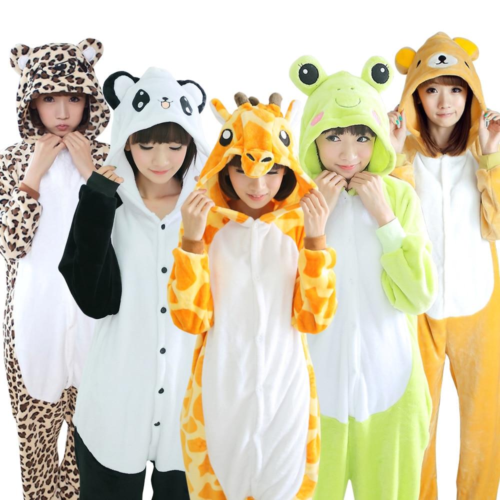 22 Styles All in One Flannel Anime Character Pijama Cartoon Cosplay Warm Sleepwear Hooded Homewear Women Cute Animal Pajamas